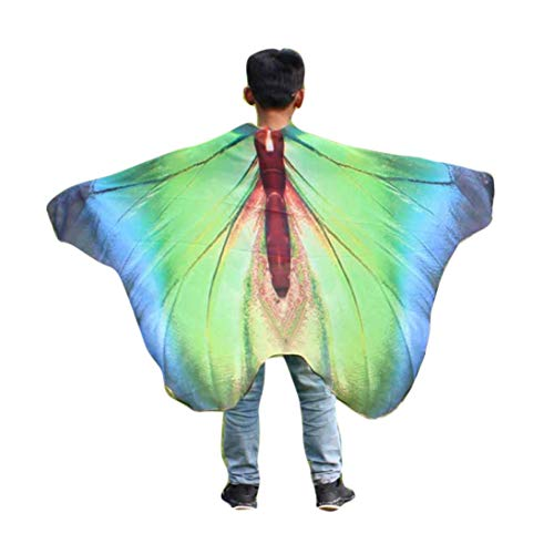 FEITONG Halloween Party Child Kids Boys Girls Bohemian Butterfly Wings Print Shawl Pashmina Costume Accessory, 147x100cm(147x100cm,Blue) ()