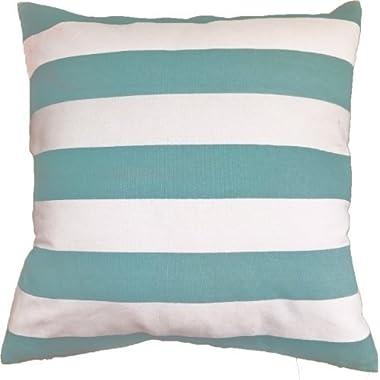 Decorative Printed Stripes Floral Throw Pillow Cover 18  Aqua Sea