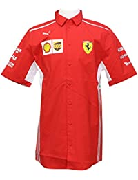 Scuderia Formula 1 Mens Red 2018 Button Down Team Shirt w/Sponsors
