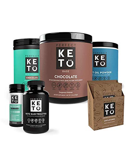 The Perfect Keto Essentials Bundle for Ketogenic Diet | Best to Burn Fat and Support Energy | Includes Collagen, MCT Oil, Exogenous Ketone Base & Testing Strips (Chocolate) by Perfect Keto