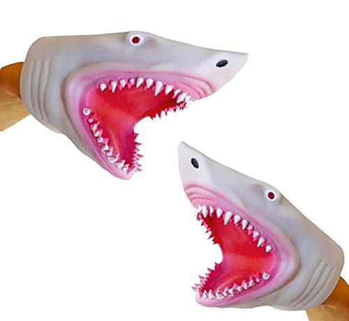 (Soft Silicone Great White Megalodon Jaws Shark Hand Puppet 2 Pack)