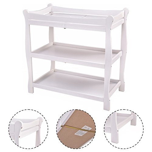 New MTN-G White Sleigh Style Baby Changing Table Infant Newborn Nursery Diaper Station by MTN Gearsmith