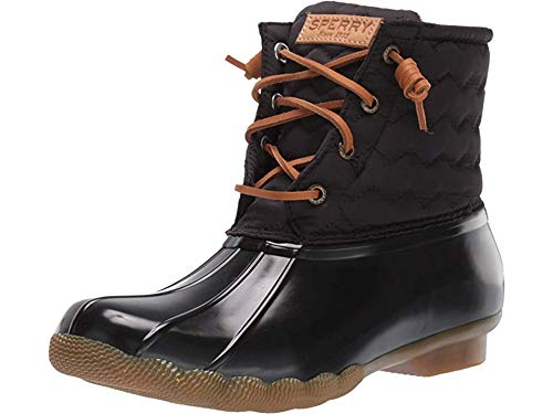 Sperry Womens Saltwater Chevron Quilt Nylon Boots, Black, 8