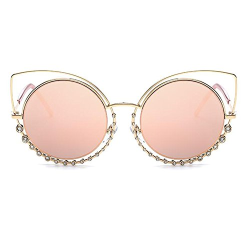 lunettes pour de plat lentilles les cadre Inlefen rond lunettes Rose en Eye métal femmes Mode Cat de soleil miroir qnBxgHtwZ