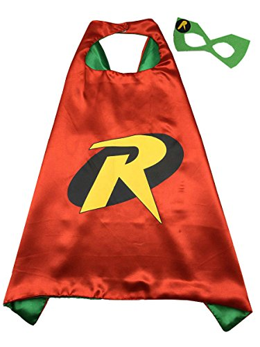 Superhero Cape and Mask Costume Set Boys Girls Birthday Halloween Play Dress Up (Robin)