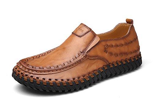 Lapens Heren Hoefijzers Premium Echt Leer Mode Slipper Casual Instappers Loafers Schoenen Bruin 1
