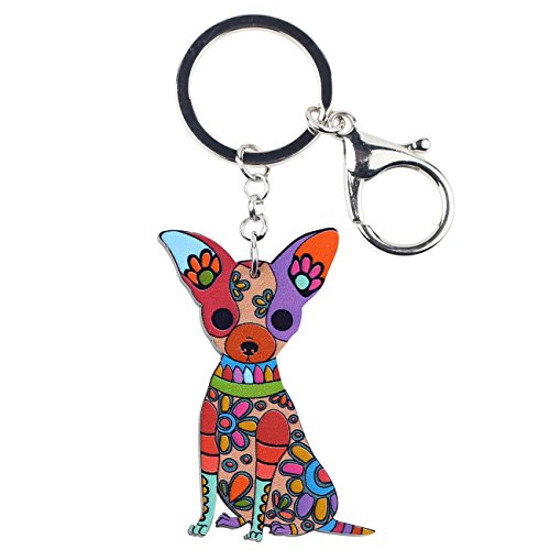 WEVENI Acrylic Chihuahua Dog Key Chain Ring Fashion Animal Jewelry For Women Girl Bag Car Key Charm Keychain Pendant (Multicoloured) ()