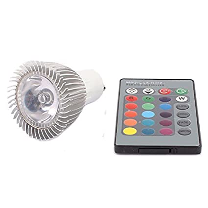 eDealMax GU10 adaptador Decor Spotlight luz de la lámpara RGB LED Bulb 3W AC 85V-