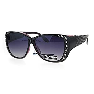SA106 Polarized 55mm Fit Over OTG Butterfly Rhinestone Diva Sunglasses Black Purple