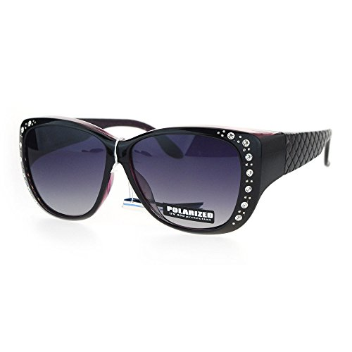 SA106 Polarized 55mm Fit Over OTG Butterfly Rhinestone Diva Sunglasses Black - Sunglasses Glasses Polarized Over