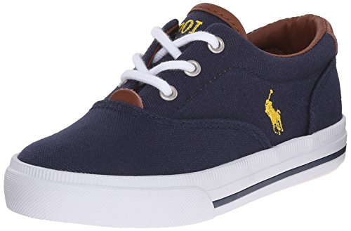 Polo Ralph Lauren Kids Vaughn Ii Sneaker (Toddler/Little Kid/Big Kid), Navy/Yellow, 7 M US Big Kid (Navy Leather Youth Footwear)