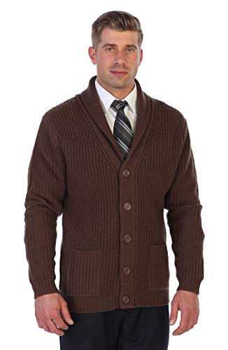 (Gioberti Men's Shawl Collar Knitted Cardigan with Faux Suede Elbow Patch, Brown, XX-Large)