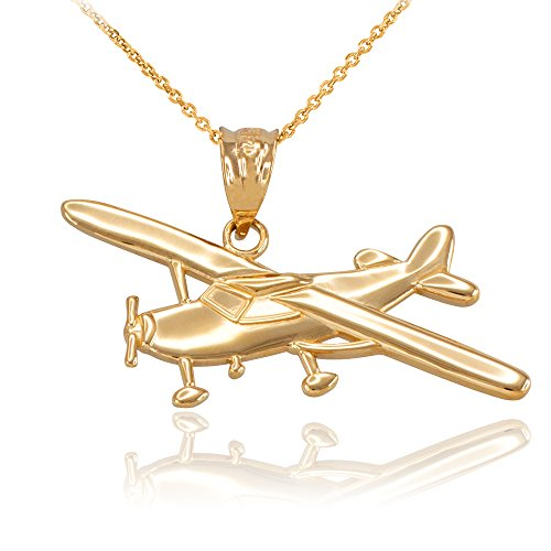Space and Aviation Polished 14k Yellow Gold Airplane Aircraft Pendant Necklace, ()