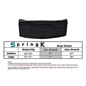 Springk Unisex Stretch Running Belt Fanny Packs, Travel Money Belt with Zipper Pockets Fit Smartphones and Passport, Waist Pack with Extra Pockets for Running Yoga Trekking and Outdoor Sports(Large)