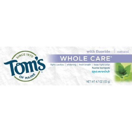 Tom's of Maine Whole Care Toothpaste with Fluoride, Spearmint 4.7 oz (Pack of 12)