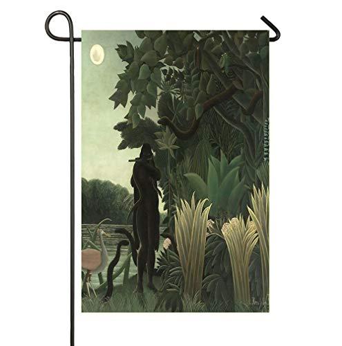 Dongingp Henri Rousseau - The Snake Charmer 1907 Seasonal Garden Flag - 12