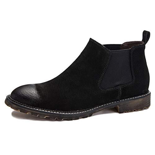 E E Chelsea Brogue Black Matrimonio Boots Classico da Sicurezza Retro Pelle Autunno Inverno Uomo Chelsea Stivali Nero Uomo rrwzAq