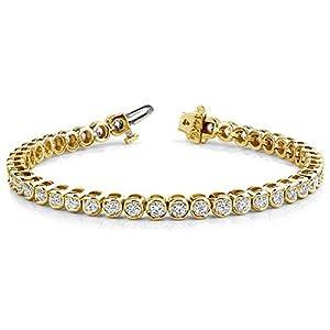 14K Yellow Gold Diamond Round Brilliant Bezel Set Tennis Bracelet (3.87ctw.) - Size 7.5