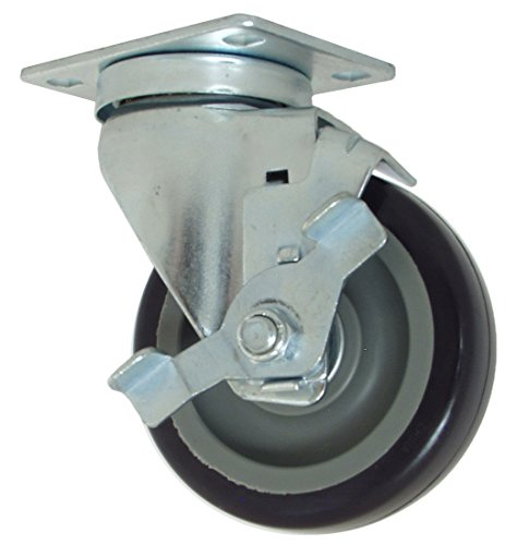 "RWM Casters VersaTrac 27 Series Plate Caster, Swivel with Brake, Urethane on Polypropylene Wheel, Ball Bearing, 275 lbs Capacity, 4"" Wheel Dia, 1-1/4"" Wheel Width, 5-1/4"" Mount Height, 3-3/4"" Plate Length, 2-5/8"" Plate Width from RWM Casters"