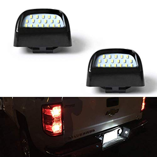 GemPro 2Pcs LED License Plate Light Lamp Assembly for Chevy Silverado 1500 2500 3500 Suburban Tahoe GMC Sierra 1500 2500 3500 Cadillac Escalade Yukon XL, Powered by 18SMD Xenon White LED Lights