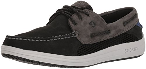 SPERRY Men's Gamefish 3-Eye Boat Shoe, Black/Grey, 9.5 Medium US