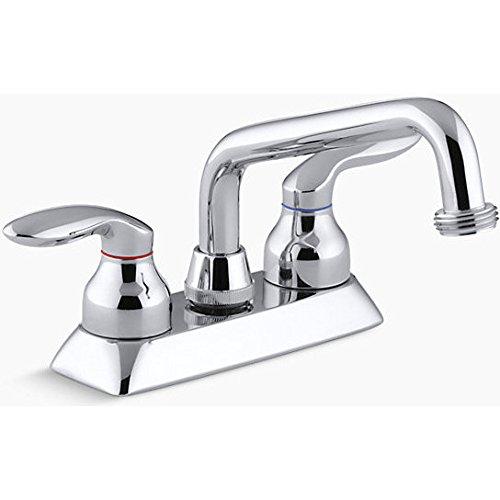 KOHLER K-15271-4-CP Coralais Laundry Sink Faucet, Polished - Coralais Chrome Bathroom Faucet