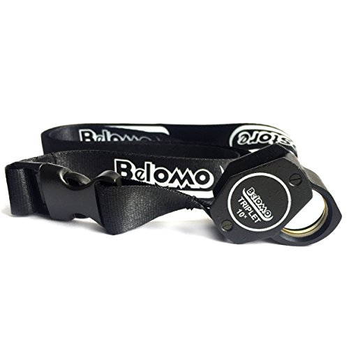 BelOMO 10x Triplet Loupe Magnifier with Attached Deluxe BelOMO Logo Lanyard, Optical Glass with Anti-Reflection Coating for a Bright, Clear and Color Correct - Lense Logo
