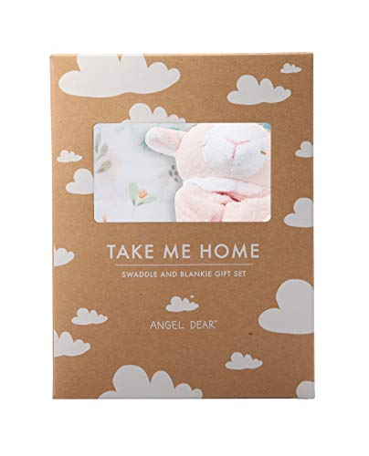 Angel Dear Swaddle and Blankie Gift Set, Swan Floral with Pink Lamb