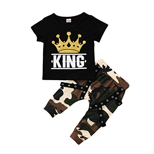 MIOIM Toddler Kids Baby Boys Crown King Letter Tops T-Shirt Camouflage Pants 2Pcs Outfits Set