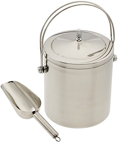 Ice Bucket | Insulated Stainless Steel Double Walled | Top Handle for Carrying One Handed | Quality 8 Inch Solid Stainless Steel Scoop | Great Gift | Keeps 1/2 Gallon of Ice From Melting