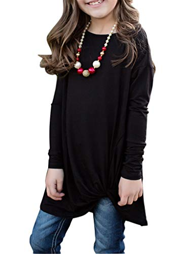 Blibea Girls Casual Long Sleeve Tops Blouse Solid Color Knot Front Cute T Shirts Birthday Shirt Fashion Outfits Size 12-13 Black