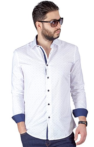 AZAR Men's Slim Fit Bow Tie Print Design Detailed Fitted Cotton Dress Shirt (Large 16, White)