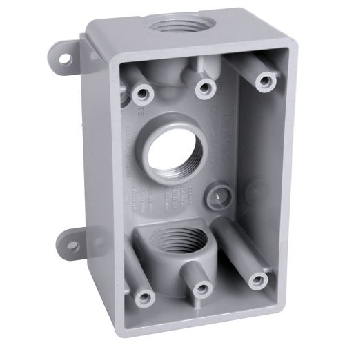 Pvc Switch Box - Hubbell-Bell PSB37550GY Weatherproof Box with Gang, 1/2-Inch or 3/4-Inch Outlets, Gray