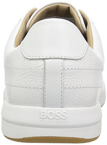 Hugo Boss Menns Stillheten Tenn Skinn Sneaker Hvit