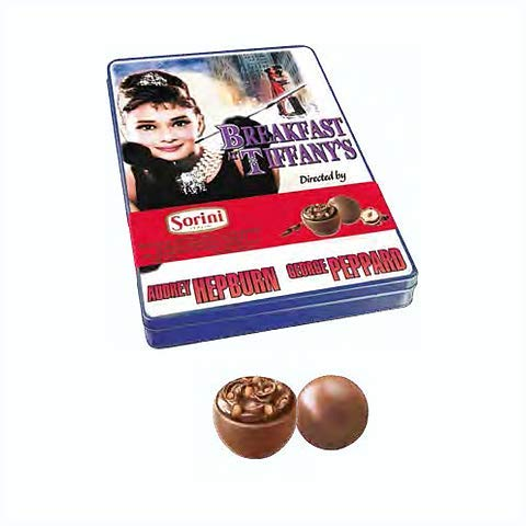 Nostalgic Audrey Hepburn Breakfast At Tiffany's Collectible Limited Edition Tin With Milk Chocolate Pralines! Beautiful Collectible Tin For Any Fan! This Limited Edition Tin Is Straight From Italy!