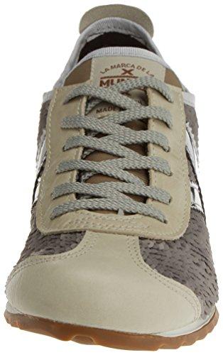 Munich Damen Osaka Sneaker, Beige, 36 EU Versilbert (Pailletten)