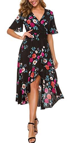 KorMei Women Short Sleeve V Neck Floral High Low Flowy Summer Party Long Maxi Dress L - Black Flower Cocktail