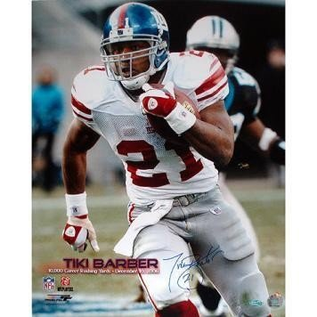 Tiki Barber Eclipsing the 10000 Yard Rushing Mark Close Up Autographed Signed 16x20 Photo - Authentic Signature ()