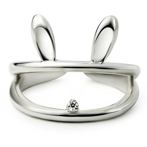 JEWME Women 925 Sterling Silver Hollow Luck Rabbit Bunny Open Tail Ring Size 6-8 -