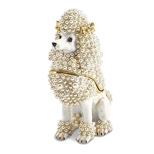 Jere Luxury Giftware Bejeweled Fifi French Poodle, Pewter with Enamel Collectible Trinket Box with Matching Pendant Necklace ()