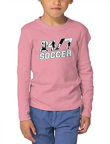 (HAASE UNLIMITED 24/7 Soccer - Future Athlete Long Sleeve Toddler Cotton Jersey Shirt (Light Pink, 2T) )