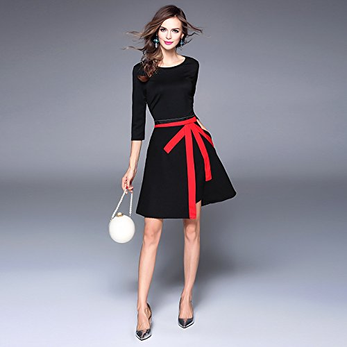 ZHUDJ Vestido Slim _ Womens Black Slim Irregulares black