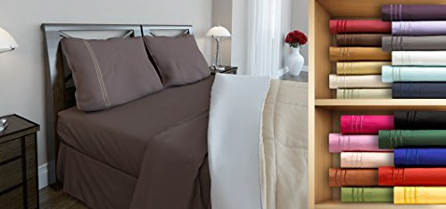 Clara Clark Premier 1800 Series, King Size 4 Pc. Sheet set, Chocolate (Mattress Product Set Premiere)