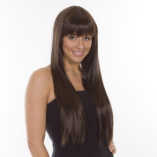 Extra Long Thick Straight Brunette Wig with Fringe | Lady Gaga style - Style Lady Gaga