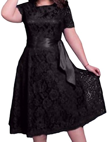 Dress Cocktail Out Lace Trim Women Strappy Hollow Plus Coolred Short Size Black Sleeve qfgxSOfP