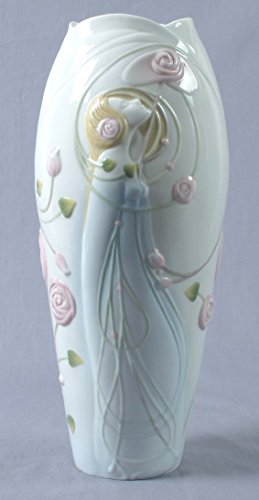 - 11.75 Inch Porcelain Vase Art Nouveau with Nymph Roses and Scrolls