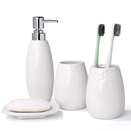 Tumbler Soap Dish Toothbrush Holder - HUIDANG 4 piece Line Textured White Ceramic Soap Dish, Soap Dispenser, Toothbrush Holder & Tumbler Bathroom Set