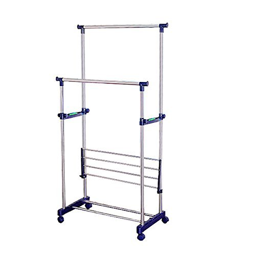 Generic opic Rolling Adjustable Hanger er Telescopic Shelf Clothes nger Tel Double Rail Clo Telescopic Rolling nt Ra Garment Rack by Generic