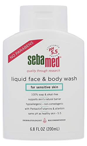Gel Liquid Cleanser - Sebamed Paraben-Free Face and Body Wash With Pump for Sensitive and Delicate Skin pH 5.5 Ultra Mild Dermatologist Recommended Cleanser 6.8 Fluid Ounces (200mL)