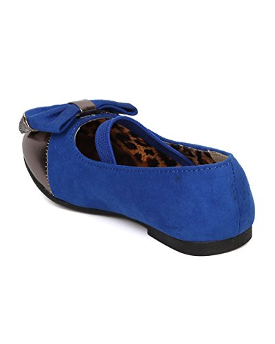 JELLY BEANS Saroya Gold Cap Round Toe Ballet Flat Bow Elastic Mary Jane (Toddler) AC85 - Royal Blue Faux Suede (Size: Toddler 6) by JELLY BEANS (Image #2)